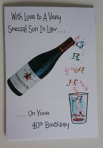 Personalised 40th Birthday Card Son In Law Red Wine Dad Grandad