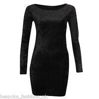 Ladies Women's Long Sleeve VELVET VELOUR Bodycon CREW NECK Tunic Mini Dress