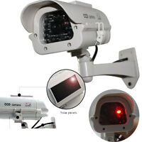 SOLAR POWERED FAKE DUMMY CCTV SECURITY CAMERA FLASHING LED CAMERA SURVEILLANCE