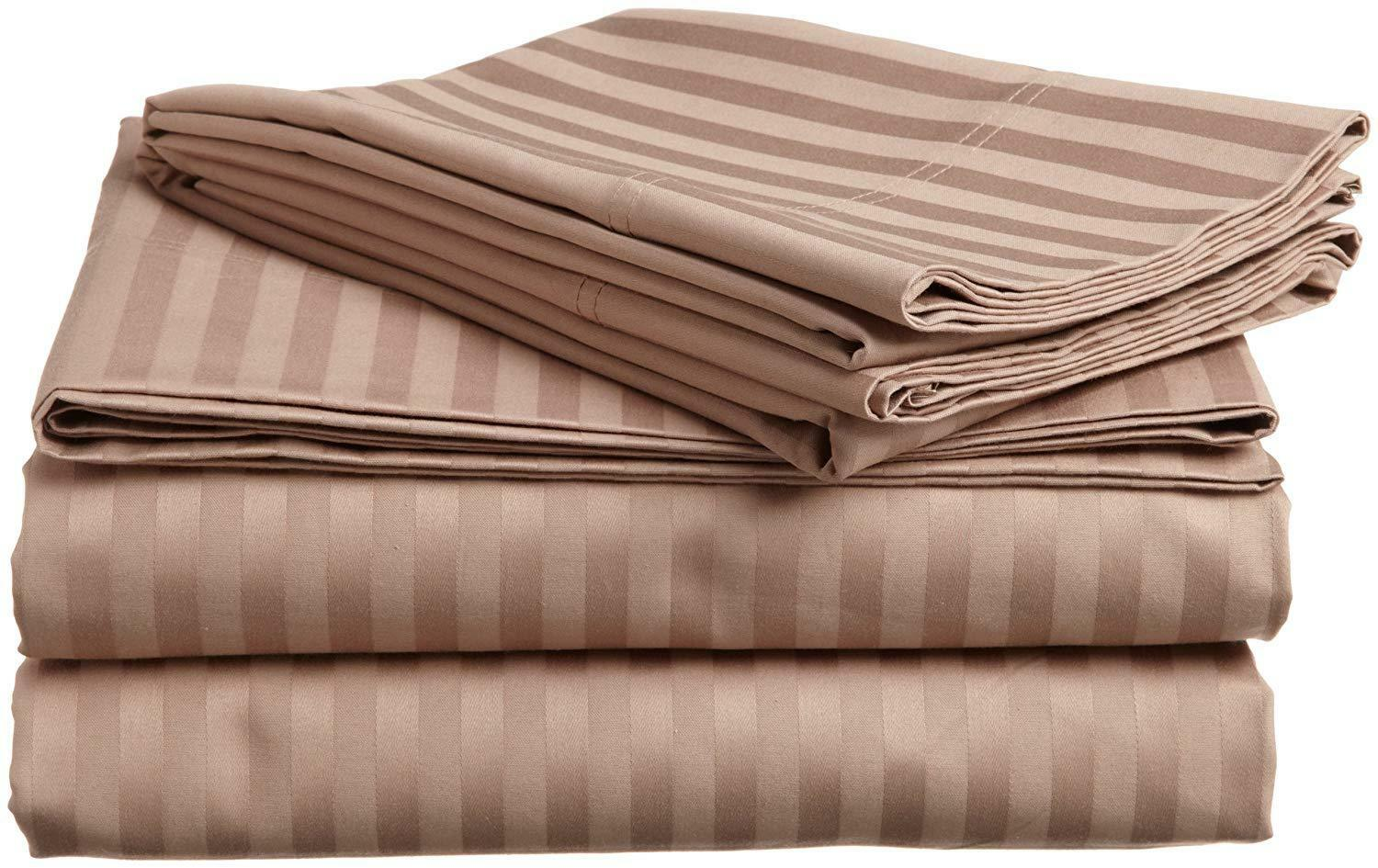 Cotton Bed Sheet Set 4 Pcs Queen Size Taupe Striped 600 Tc 100% Egyptian Cotton