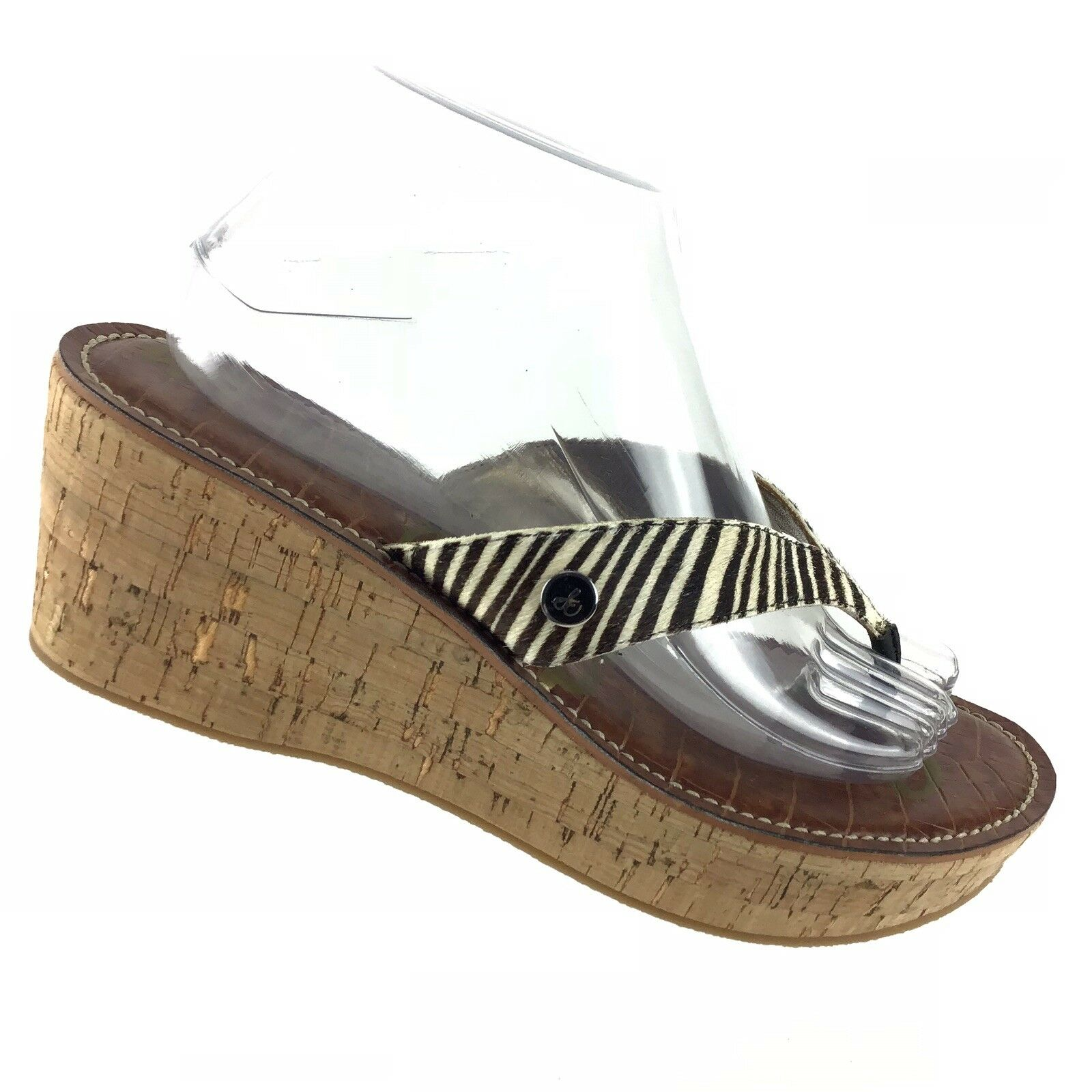 Sam Edelman Romy  Women's 10 M Striped Wedge Heel Platform Casual Sandals R1S9