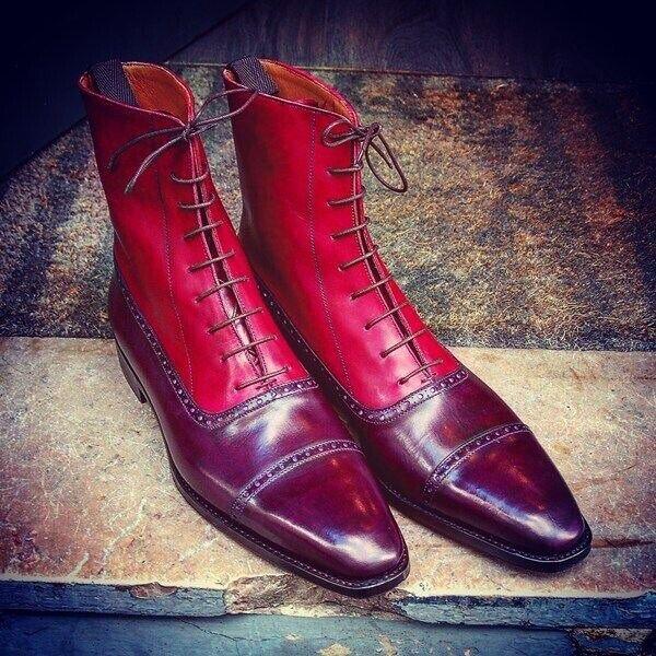 Nuevo Hecho a Mano Puro Cuero Rojo Borgoña & botas al tobillo para Hombre