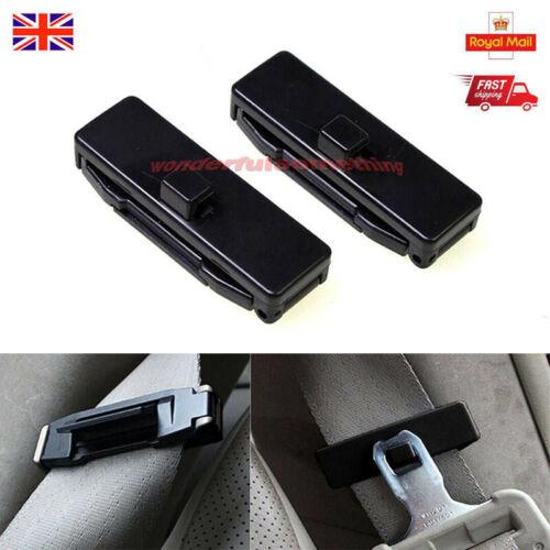 2 pcs Car Seat Belt Improves Comfort Safety Stopper Buckle Adjuster Clips Black