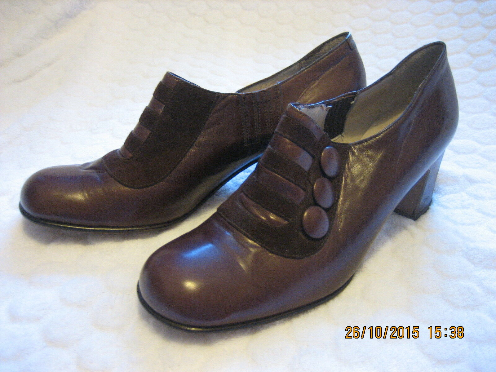 VINTAGE 1970's WOMEN'S BROWN LEATHER ITALIAN Schuhe SIZE 5