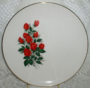 Red Rose Roses Gold Trim Dinner Plate Plates Sabin S American Ironstone USA
