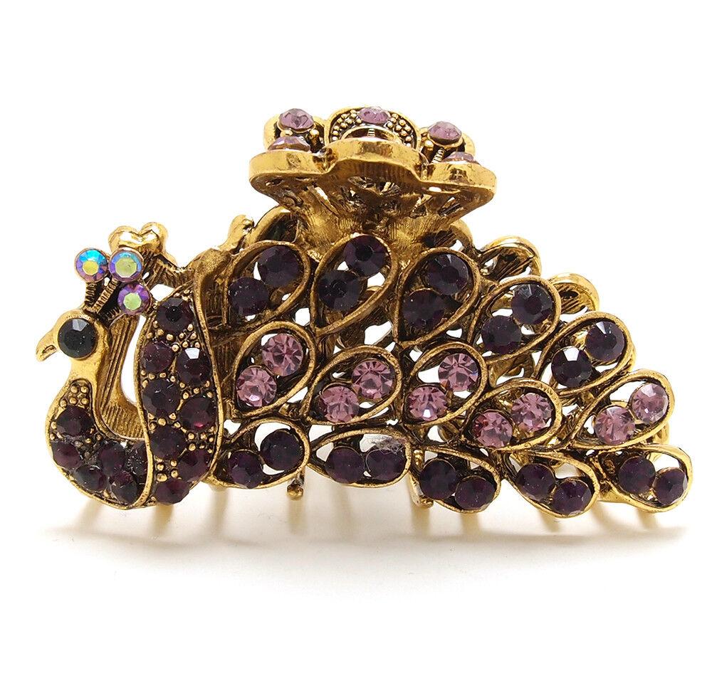 Woman metal hair claws clip purple rhinestones crystal peacock bridal hair clip