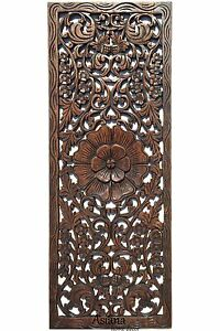 Details About Rustic Carved Wood Wall Decor Panel Fl Art Dark Brown 35 5 X13