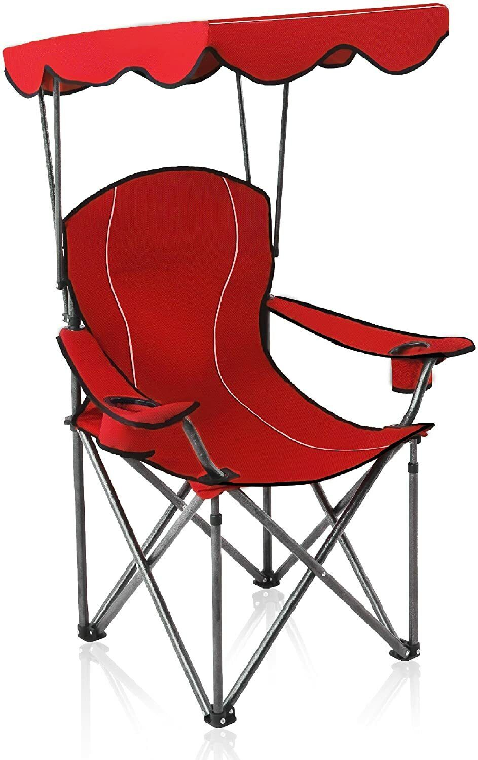 Camping Chairs With Canopy Shade, Red And Black Folding Patio Chairs