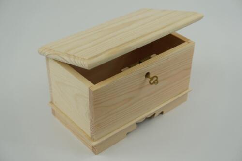 Plain Wooden Hinged Lockable Jewellery Box Craft Storage Decoupage PSGKL18