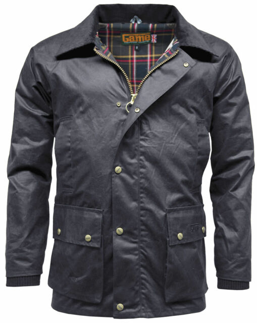 Mens Game Barker Wax Jacket with Detachable HoodPremium Antique Waxed Cotton