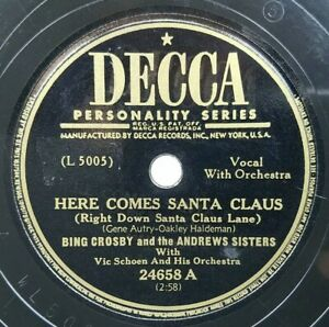 Bing-Crosby-Andrews-Sisters-Here-Comes-Santa-Claus-12-Days-Christmas-78rpm-Decca