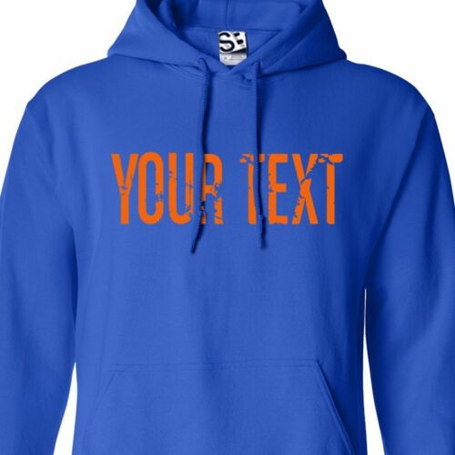 Custom Distressed Thin Block HOODIE Personalized Grunge Text Font Sweatshirt