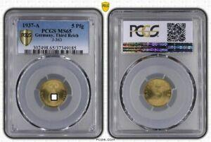 Third Reich 5 Pfennig 1937 A Fresh Mint Condition PCGS MS65 (36778)