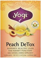 Yogi Organic Peach Detox Tea, 16 Ct, New, Free Shipping
