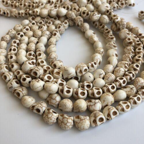 9x8mm Halloween Gemstone Punk Bead 40cm Strand White Howlite skull Beads