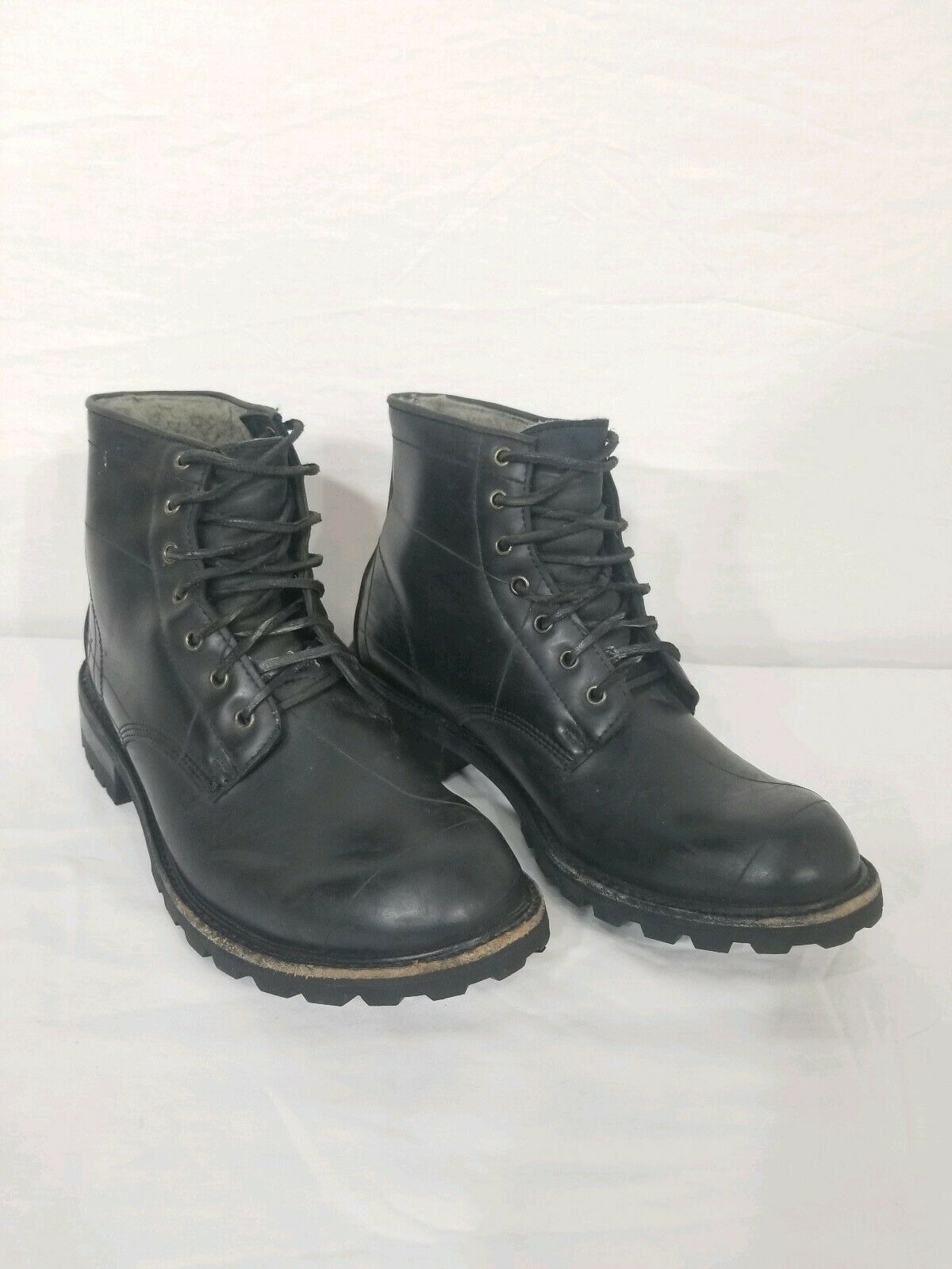 FRYE Arkansas Rubber Mens Mid Lace Blacked Lined Boots Mens 10M 3486176 RARE