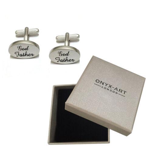 Para Hombre Plata Cepillada Oval Padrino Gemelos /& Caja de regalo de Dios Padre por Onyx Art
