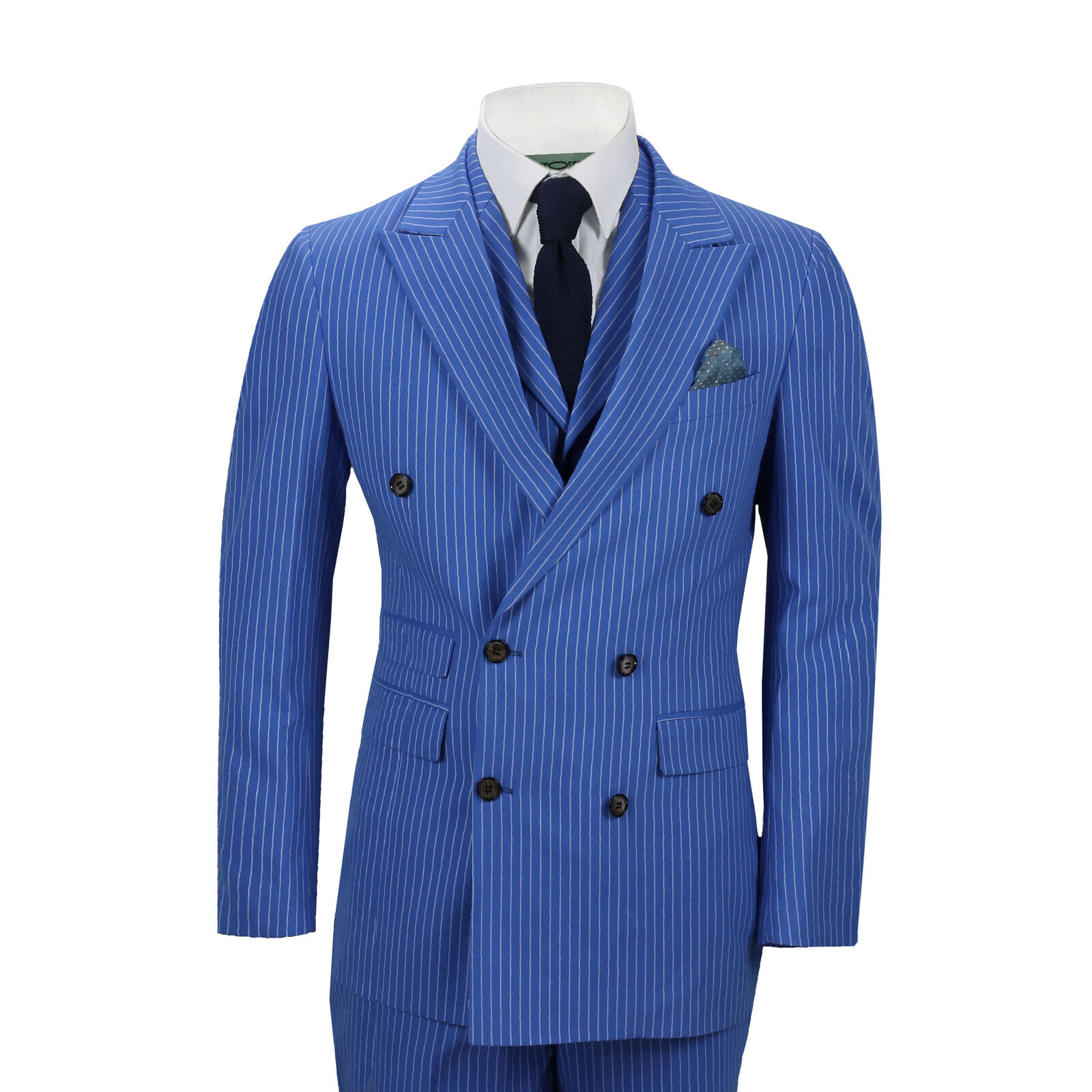 Herren 3 Piece Double Breasted Pencil Pin Stripe Suit Royal Blau Classic Retro Fit