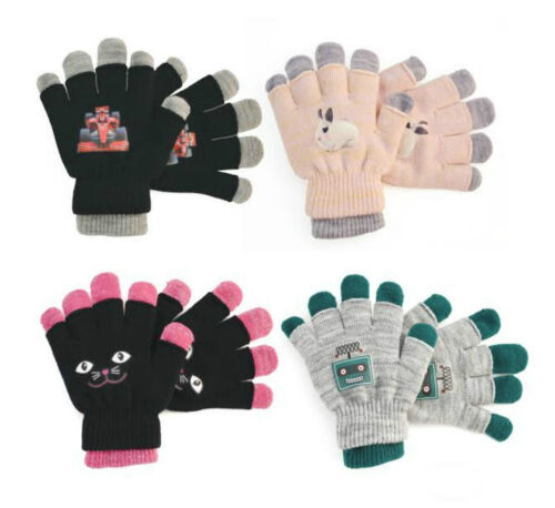 GL181 GIRLS AND BOYS 2 IN 1 MAGIC GLOVES ASSORTED COLORS DESIGNS