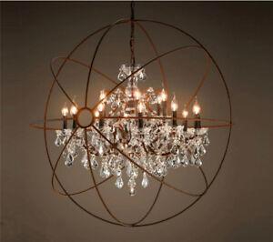 rustic crystal chandelier living room image is loading foucault039sorbcleark9crystalchandelier foucaults orb clear k9 crystal chandelier rustic iron globe ceiling