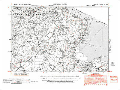 Llanbedrgoch 14NW repro Wales old map Anglesey 1949