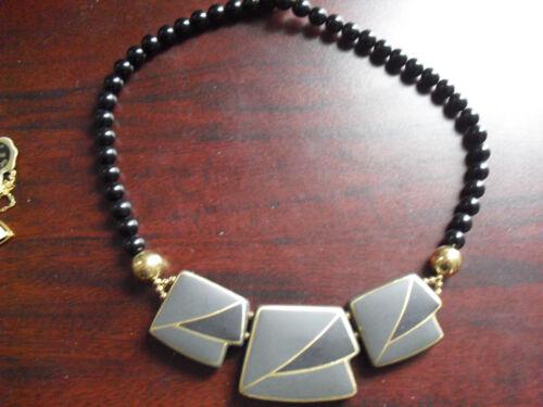 Plastic Black Beads Tile Pendant Japan Made Neckla