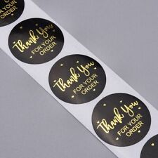 100 Business Stickers Thank You For Your Order Labels Black And Gold Round 25mm