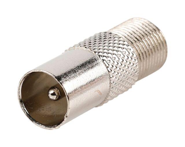 Adaptateur d'antenne Fiche Coaxiale Mâle (IEC) - F Femelle Argent
