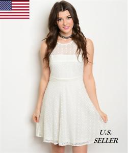 Women Summer Party Dresses Sleeveless Off White All Over Lace Mini ... 7e7ec2e53