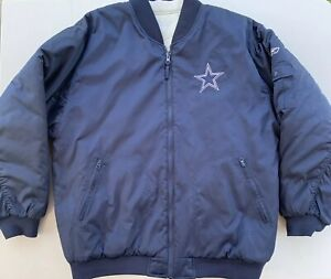 newest e0f63 41157 Details about Dallas Cowboys Reversible Jacket Reebok Large Quilted  Spellout Blue White Zip Up