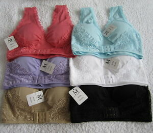 NEW Front Buckle Sport Lace Bra With Pad Crop Top Vest Stretch Bra ... 1a77461b7