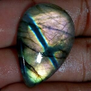 Natural-Purple-Fire-Spectrolite-Labradorite-Pear-Cabochon-Multi-Flash-Gemstone