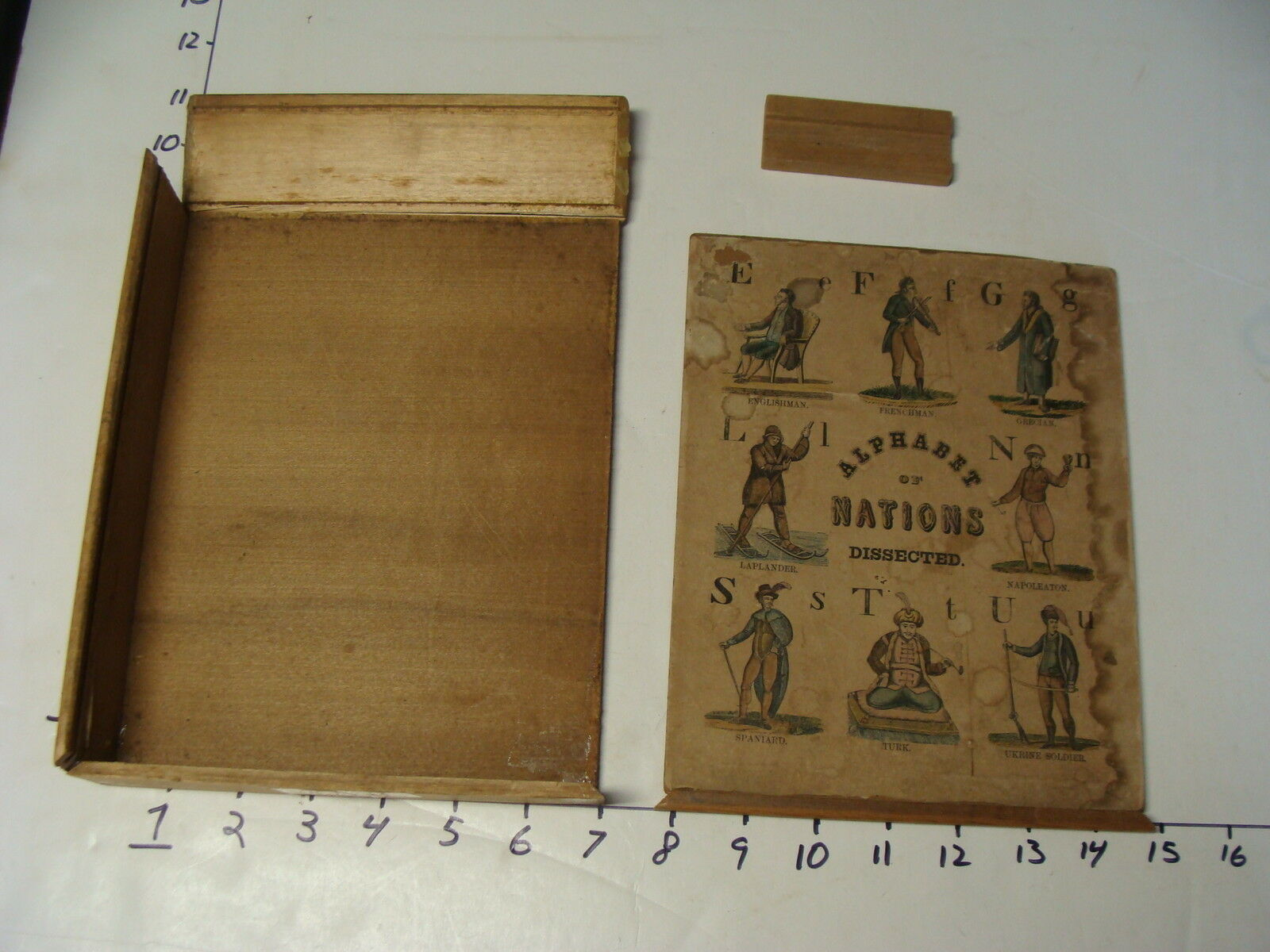Década de 1800 Crandall's alfabeto de naciones disecado caja sólo