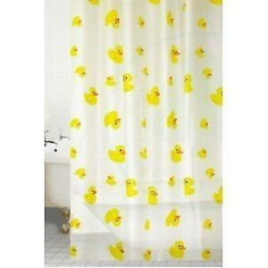Shower-Curtain-With-Rings-Hooks-Bathroom-PEVA-180-x-180-CM-Yellow-Ducks