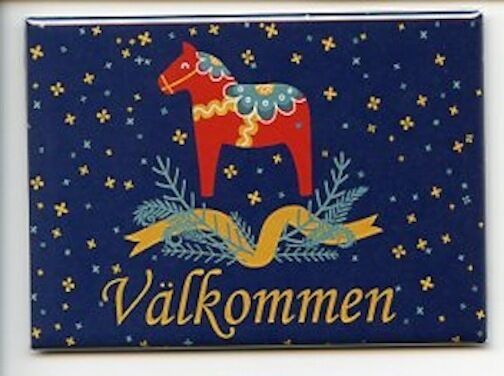 Scandinavian Swedish Dala Horse with Valkommen Magnet #REM432