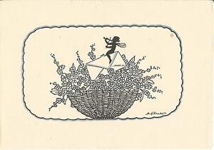 Elfe-Fee-spielt-die-Geige-Scherenschnitt-Schattenbild-Kuenstlerkarte-um-1940