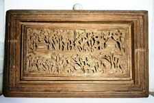 Antique Wooden Miniature Carving Old Wild Life Seen Decorative Wall Panel India