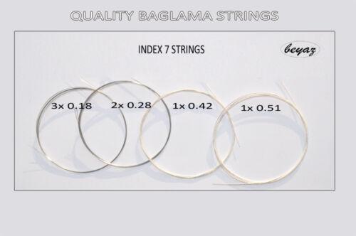 3xPack QualityBaglama Strings Kısa Sap Baglama Teli kurzhals Saiten beyaz