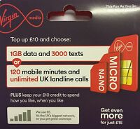 virgin media pay as you go mobile sim card -- official pack