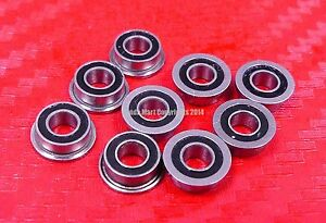 Miniature Flanged Ball Bearings Rubber Sealed Bearing 10 PCS MF84-2RS 4x8x3