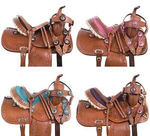 Used Youth Barrel Saddle Trail Western Mini Pony Tack Set 10 in
