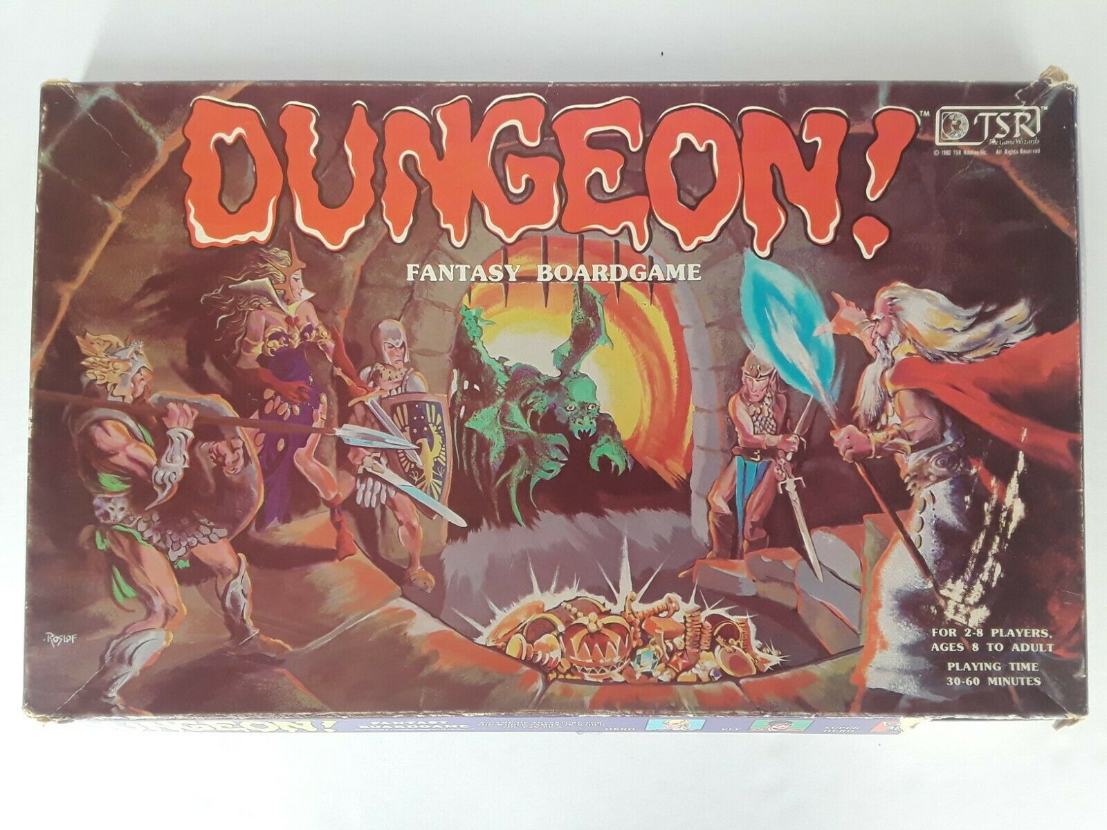 Vintage Dungeon Fantasy Board Game 1980 TSR Dungeons and Dragons  Incomplete