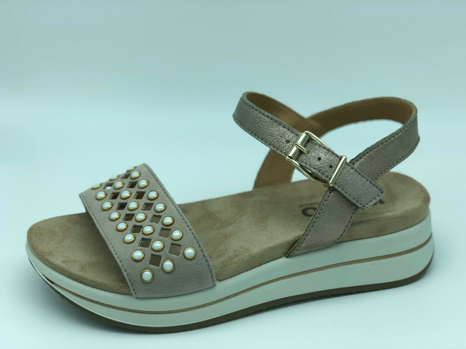 Igi&co Sandals 3169733 Leather and Suede Studded Wedge Beige 4,5 cm