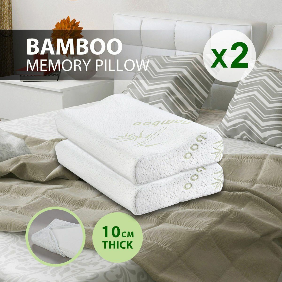 1Pack Bamboo Memory Foam Bed Pillow King Size Hypoallergenic Cool Comfort US