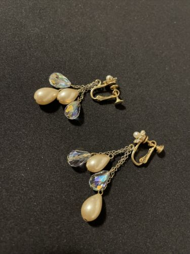 Details about  /Gorgeous Antique Vintage Dangler Screwback Earrings Pearl And Crystals