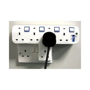 WHITE-4-5-T-WAY-13A-SWITCHED-MULTI-PLUG-ADAPTER-With-Or-Without-Surge-Protection