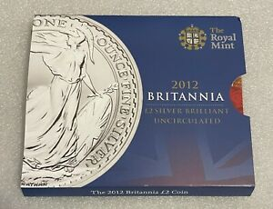 2012 Royal Mint - 1oz Silver Britannia £2 Coin - Brilliant Uncirculated Pack