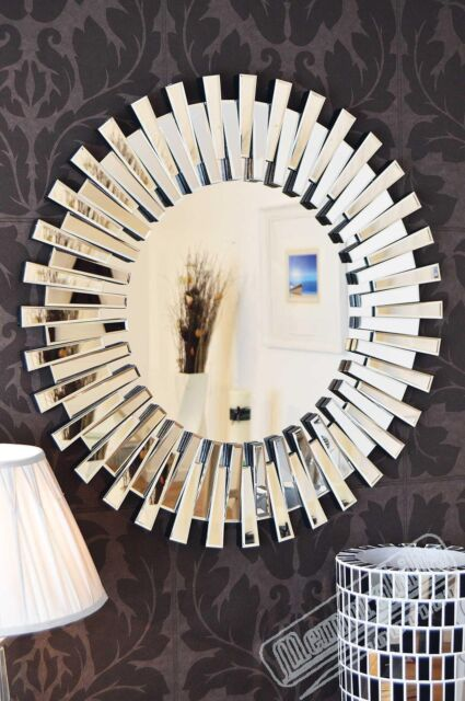 Large Wall Mirror 3Ft 91cm Contemporary Exclusive 3D Sunburst All Glass Round
