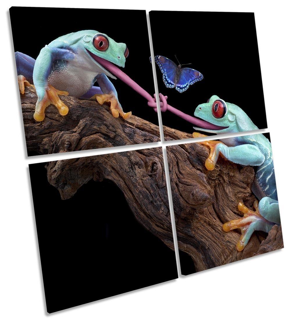 Lengua de lona lona de de múltiples imágenes atado ranas Pared Arte Cuadrado 9dccbd