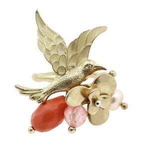 BOHM Swallow Bird Flower CLUSTER Adjusts Ring Gold Peach Burnt Orange Glass BNWT